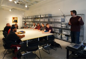 Professor Mark Thompson and students in an Interactive Exhibit Design class