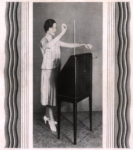 "A 1930 advertisement for the RCA theremin shows how ""simple and graceful movements"" could be transformed into electronic music."